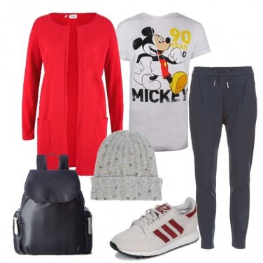 Outfit Mickey e sneakers Adidas