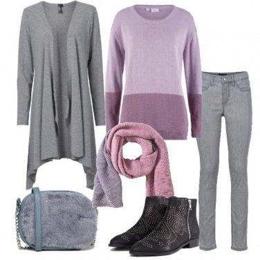 Outfit Pullover color block e grigio
