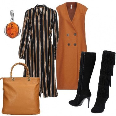 Outfit Maxi gilet e stivali con le frange