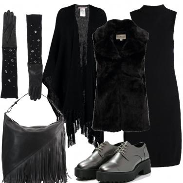 Outfit Un nero trendy con brio