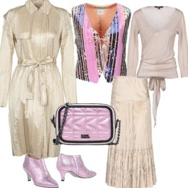 Outfit Discolook beige e rosa