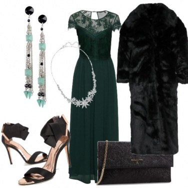 Outfit Gran sera in verde e pizzo