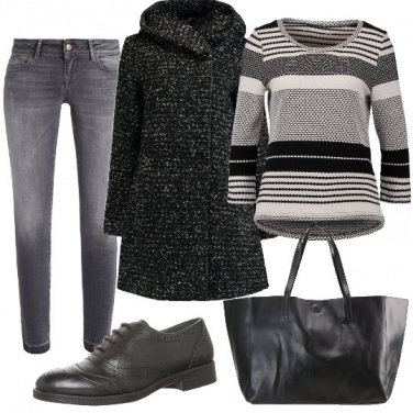 Outfit Righe bianche e nere