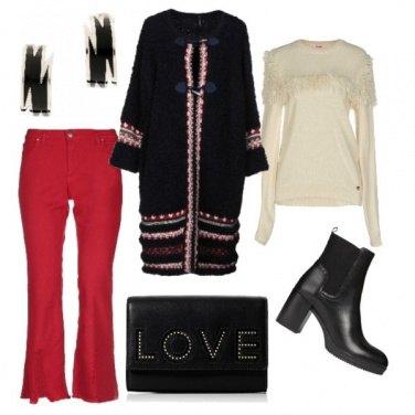 Outfit Cappotto in maglia e frange sul pullover