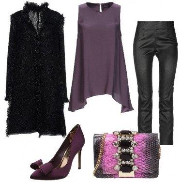Outfit In viola e nero