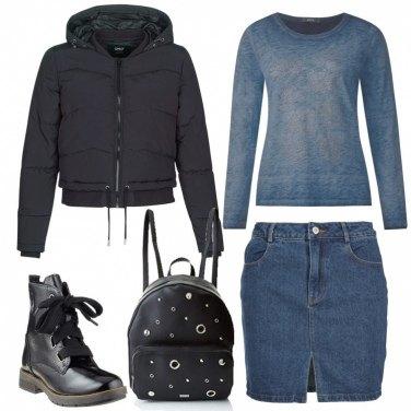 Outfit Urban in denim e nero