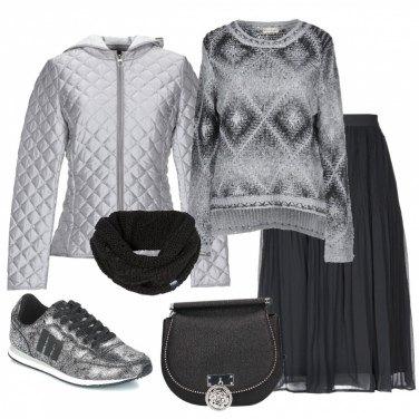 Outfit Il maglione over a rombi