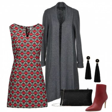 Outfit Vestito con fantasia geometrica