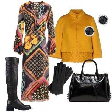 Outfit Abito midi con disegni geometrici