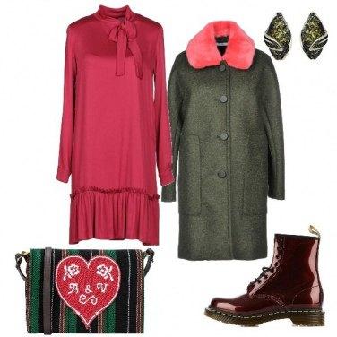 Outfit Anfibi e abito morbido con fiocco