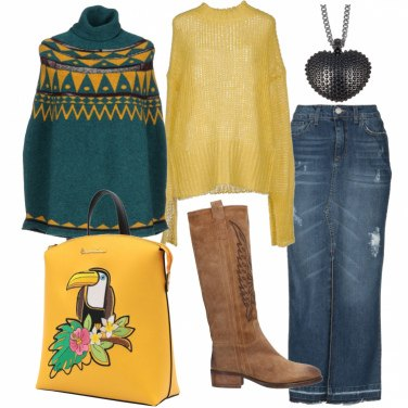 Outfit Poncho, gonna lunga e camperos