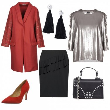 Outfit Nero Rosso Argento