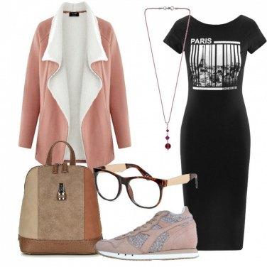 Outfit Vestito nero e Diadora Heritage