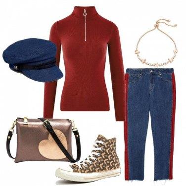 Outfit Jeans con banda e dolcevita con zip