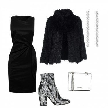 Outfit Party elegante in nero e argento