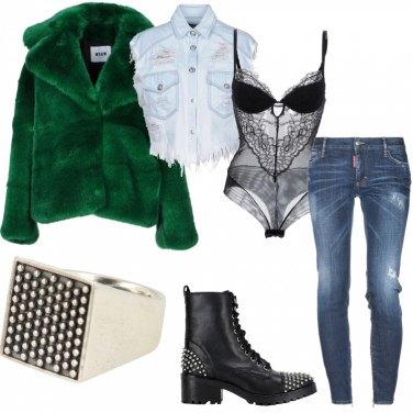Outfit Jeans e Ecopelliccia