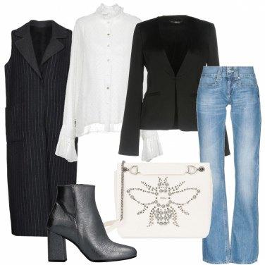 Outfit Maxi gilet gessato e camicia romantica
