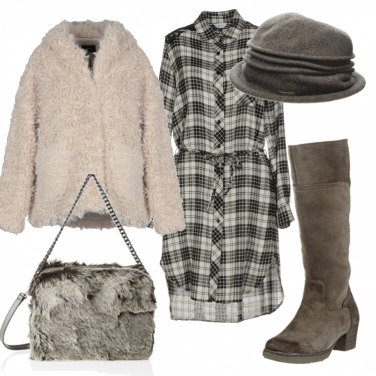 Outfit Teddy coat e chemisier