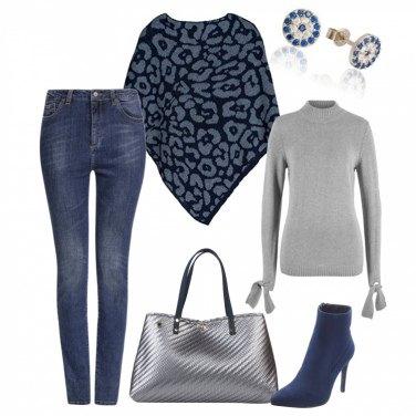 Outfit Fashion in grigio e blu