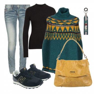 Outfit Poncho stile nordico