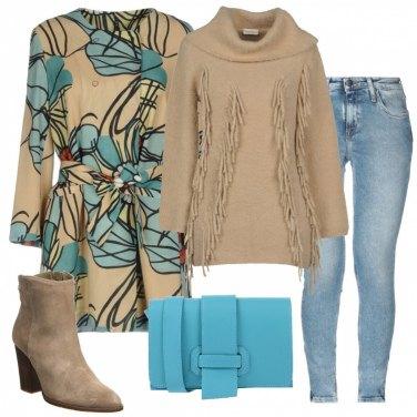 Outfit Cammello e turchese