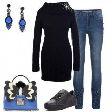 Outfit Blu e nero non banale
