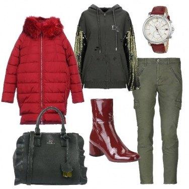 Outfit Piumino e felpa per un super-freddo