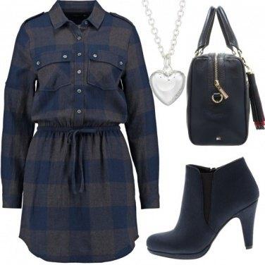 Outfit Miss tartan blu