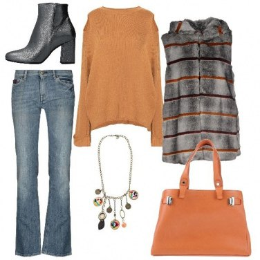 Outfit Il gilet in ecopelliccia a righe