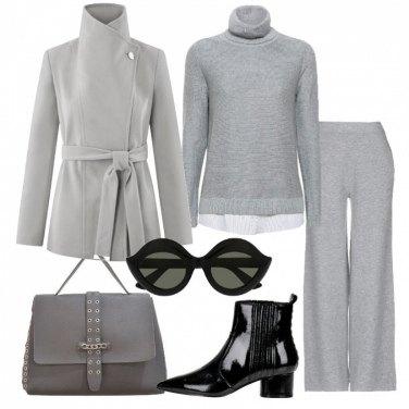 Outfit Cappotto grigio e occhiali Gucci