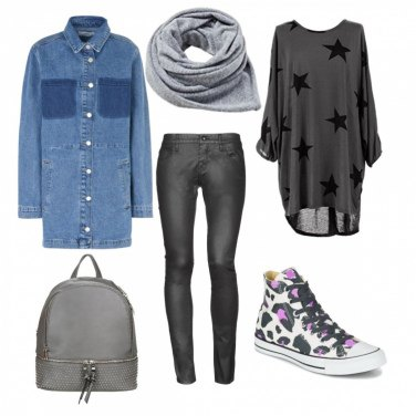 Outfit Converse e giacca in jeans
