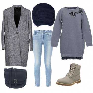 Outfit Cappotto blu mélange