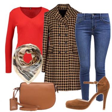 Outfit Toni di marrone e rosso