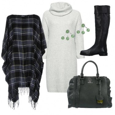 Outfit Abito in maglia e poncho