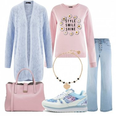 Outfit Pastelli e sneakers floreale Lotto