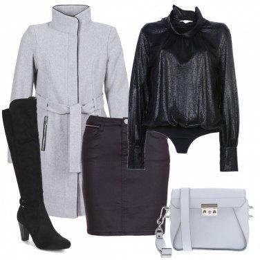 Outfit Gonna e cappotto grigio