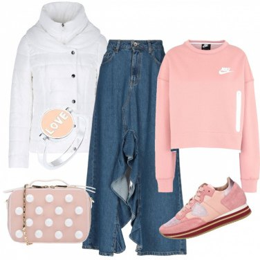 Outfit Pink e perle..ma con le sneakers