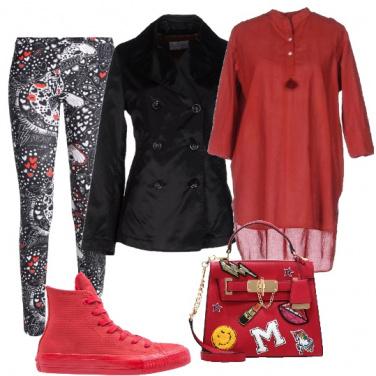 Outfit Caftano rosso rubino