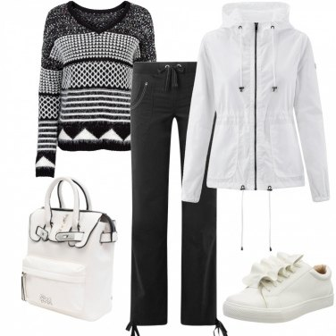 Outfit A scuola in bianco e nero