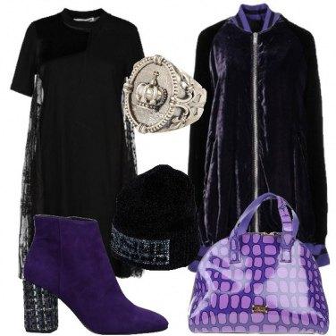 Outfit Viola e nero rock