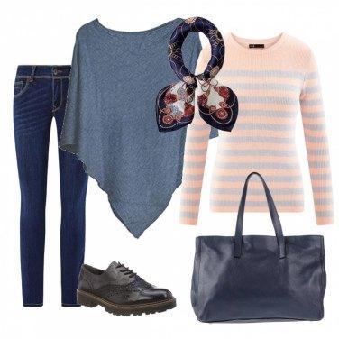 Outfit Comoda con jeans e poncho