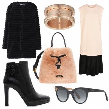 Outfit Rosa pesca e nero
