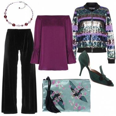 Outfit Bomber luccicante e pantalone di velluto