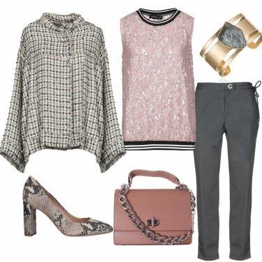 Outfit La blusa di pizzo rosa