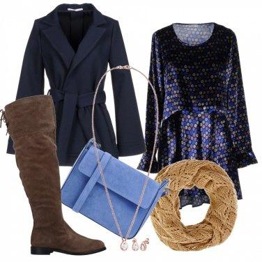 Outfit Cappotto e vestito fantasia