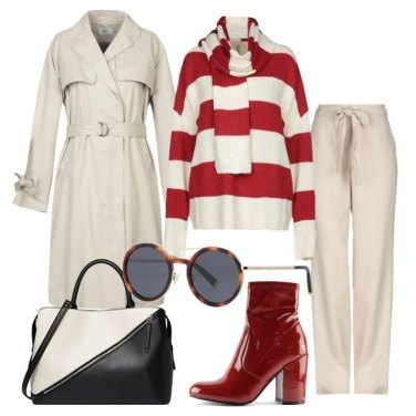 Outfit Righe e trench
