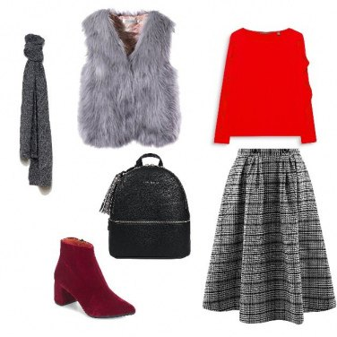Outfit Grigio Rosso