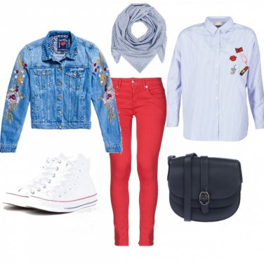 Outfit Jeans floreale