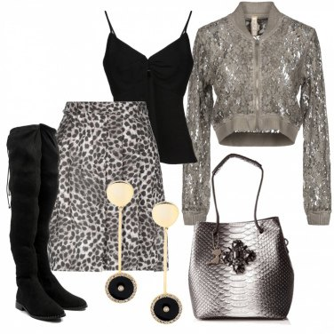 Outfit Gonna animalier e giacchina in pizzo