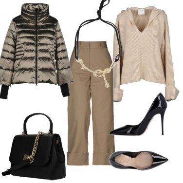 Outfit Elegante in total beige
